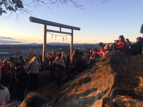 People waiting for the first sunrise of the year at the top of Mt. Hiwada (January 2015).